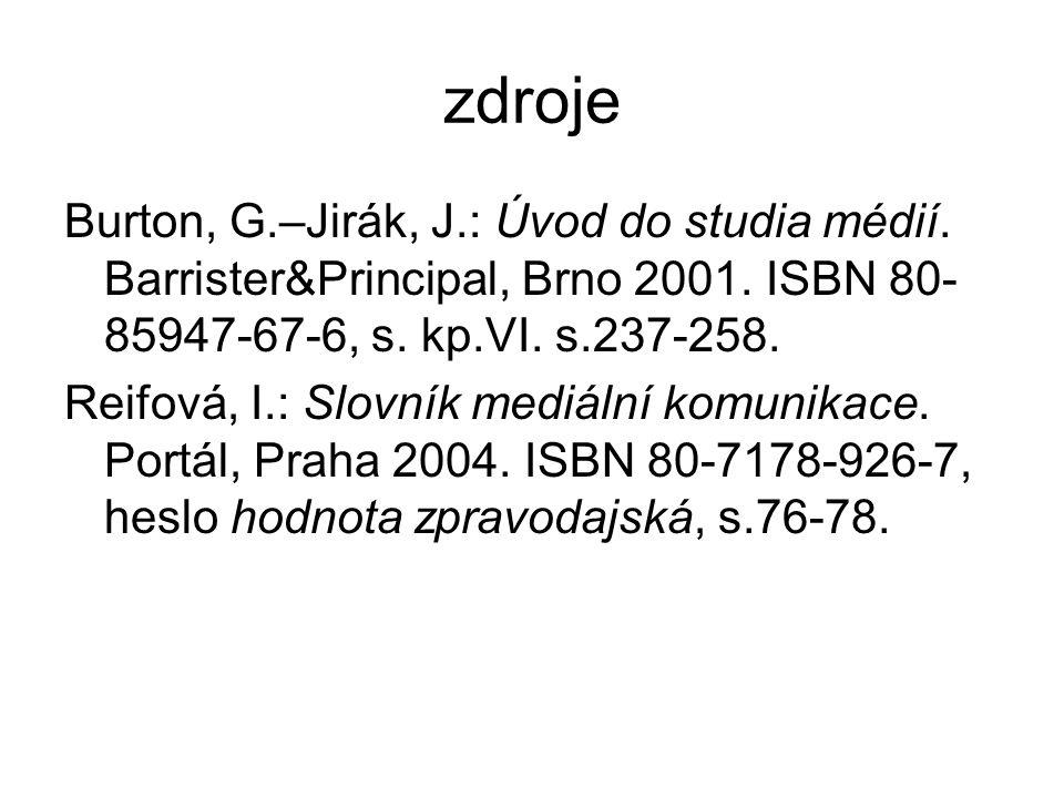 zdroje Burton, G.–Jirák, J.: Úvod do studia médií. Barrister&Principal, Brno 2001. ISBN 80- 85947-67-6, s. kp.VI. s.237-258. Reifová, I.: Slovník medi
