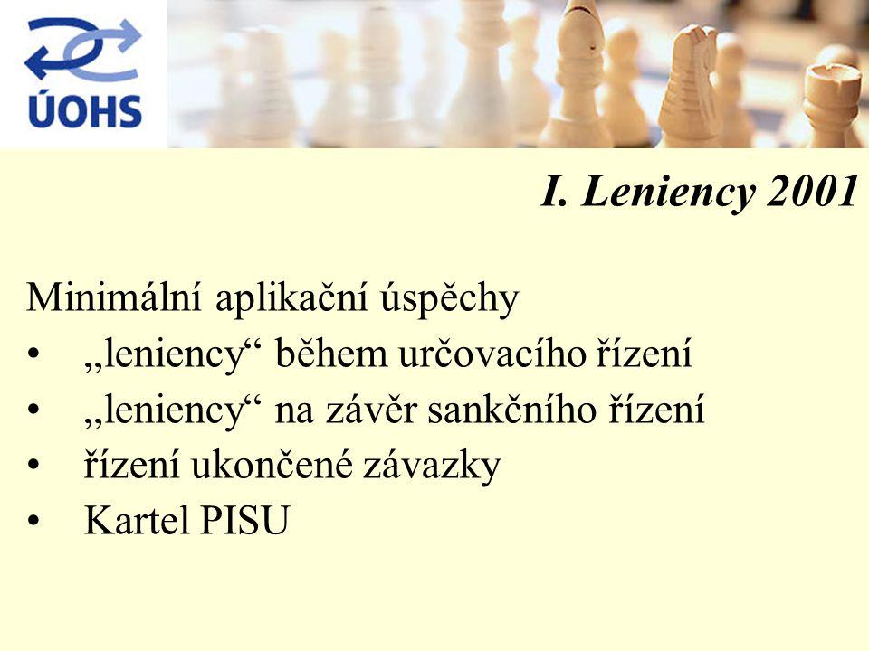 """I. Leniency 2001 Minimální aplikační úspěchy """"leniency"""" během určovacího řízení """"leniency"""" na závěr sankčního řízení řízení ukončené závazky Kartel PI"""