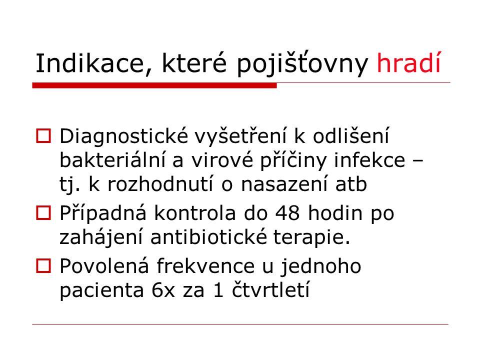 Indikace, které pojišťovny hradí  Diagnostické vyšetření k odlišení bakteriální a virové příčiny infekce – tj. k rozhodnutí o nasazení atb  Případná