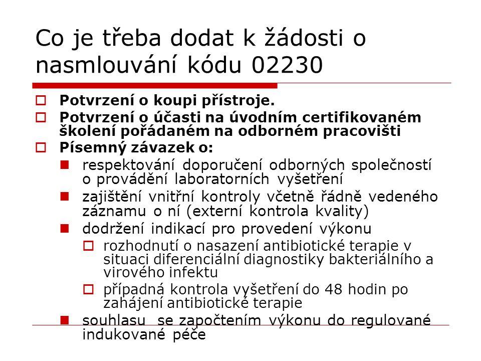 Co je třeba dodat k žádosti o nasmlouvání kódu 02230  Potvrzení o koupi přístroje.  Potvrzení o účasti na úvodním certifikovaném školení pořádaném n