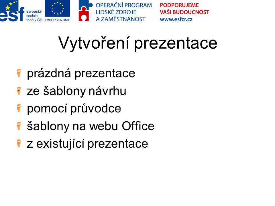 Vytvoření prezentace prázdná prezentace ze šablony návrhu pomocí průvodce šablony na webu Office z existující prezentace