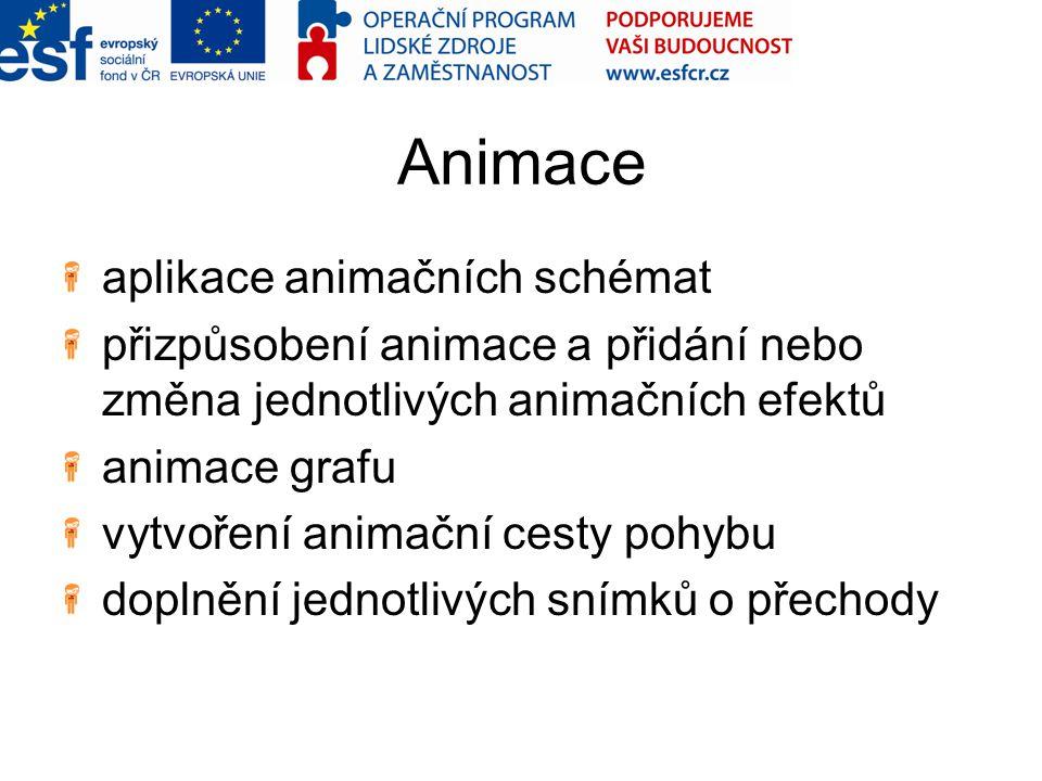 Animace aplikace animačních schémat přizpůsobení animace a přidání nebo změna jednotlivých animačních efektů animace grafu vytvoření animační cesty po