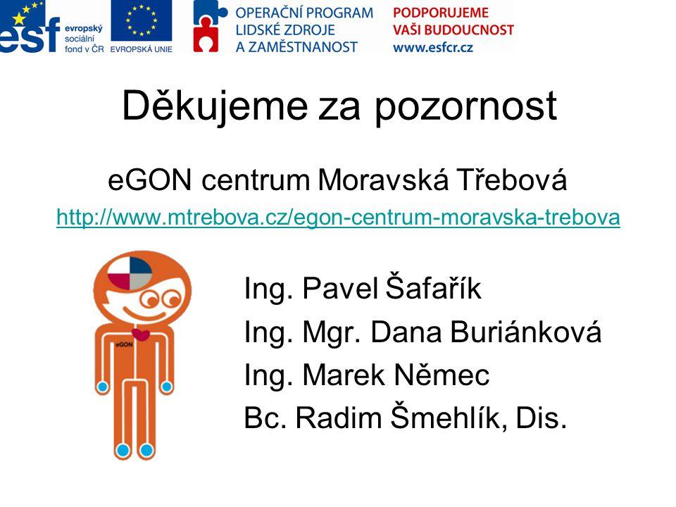 Děkujeme za pozornost eGON centrum Moravská Třebová http://www.mtrebova.cz/egon-centrum-moravska-trebova Ing. Pavel Šafařík Ing. Mgr. Dana Buriánková