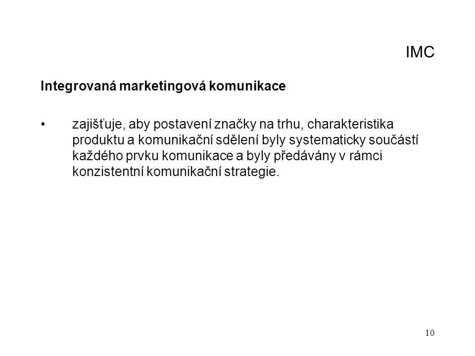 10 IMC Integrovaná marketingová komunikace zajišťuje, aby postavení značky na trhu, charakteristika produktu a komunikační sdělení byly systematicky s