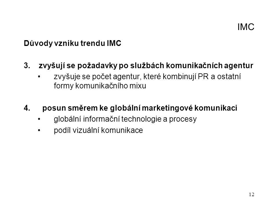 12 IMC Důvody vzniku trendu IMC 3. zvyšují se požadavky po službách komunikačních agentur zvyšuje se počet agentur, které kombinují PR a ostatní formy
