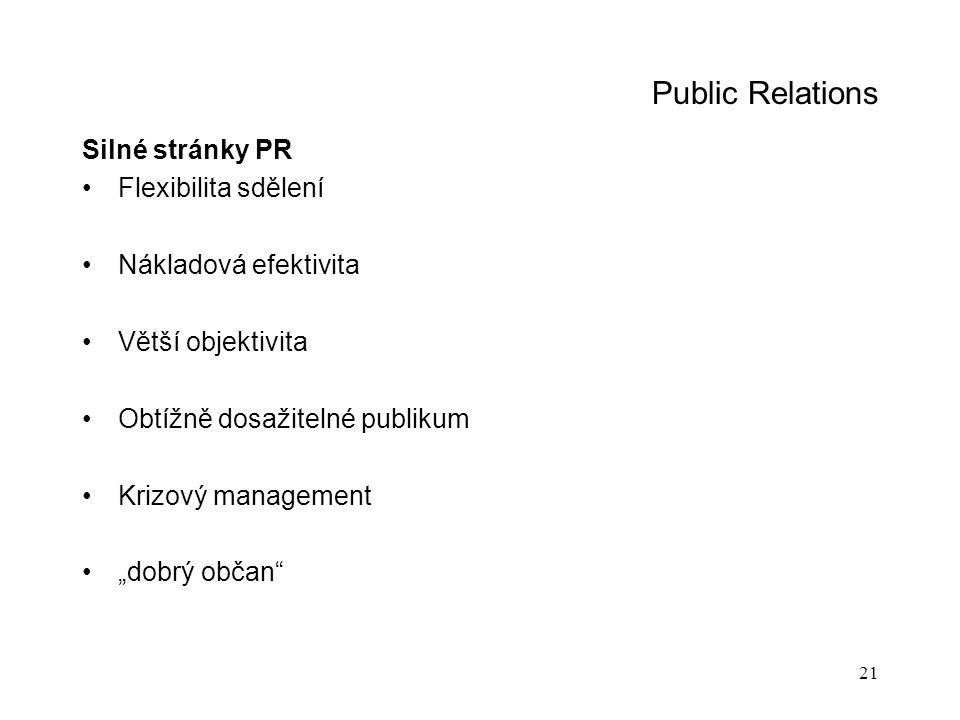 """21 Public Relations Silné stránky PR Flexibilita sdělení Nákladová efektivita Větší objektivita Obtížně dosažitelné publikum Krizový management """"dobrý"""