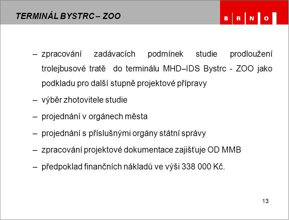 13 TERMINÁL BYSTRC – ZOO –zpracování zadávacích podmínek studie prodloužení trolejbusové tratě do terminálu MHD–IDS Bystrc - ZOO jako podkladu pro dal
