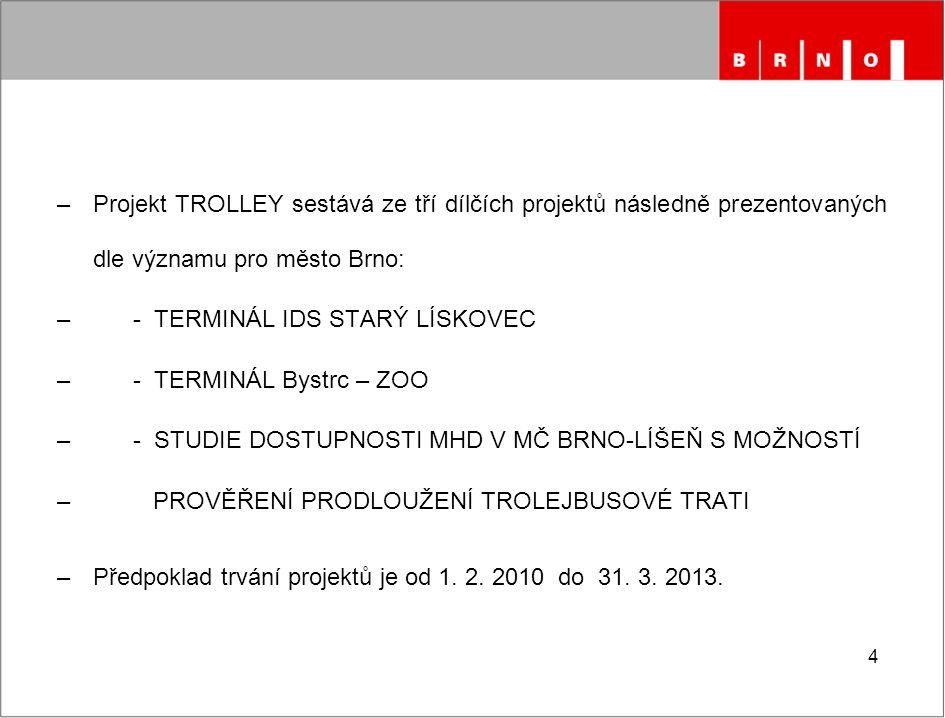 4 –Projekt TROLLEY sestává ze tří dílčích projektů následně prezentovaných dle významu pro město Brno: – - TERMINÁL IDS STARÝ LÍSKOVEC – - TERMINÁL By