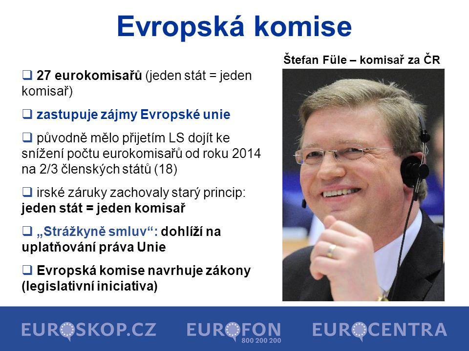 Evropská komise  27 eurokomisařů (jeden stát = jeden komisař)  zastupuje zájmy Evropské unie  původně mělo přijetím LS dojít ke snížení počtu eurok
