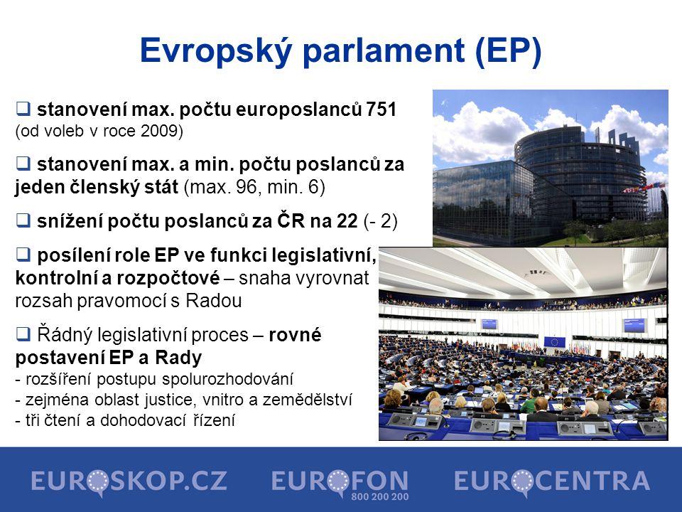 Evropský parlament (EP)  stanovení max. počtu europoslanců 751 (od voleb v roce 2009)  stanovení max. a min. počtu poslanců za jeden členský stát (m