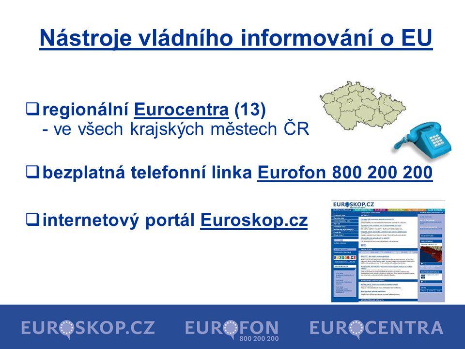 Nástroje vládního informování o EU  regionální Eurocentra (13) - ve všech krajských městech ČR  bezplatná telefonní linka Eurofon 800 200 200  inte