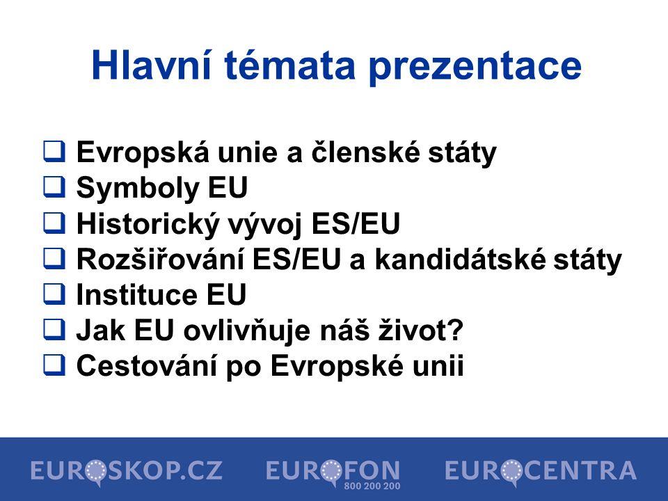 Hlavní témata prezentace  Evropská unie a členské státy  Symboly EU  Historický vývoj ES/EU  Rozšiřování ES/EU a kandidátské státy  Instituce EU