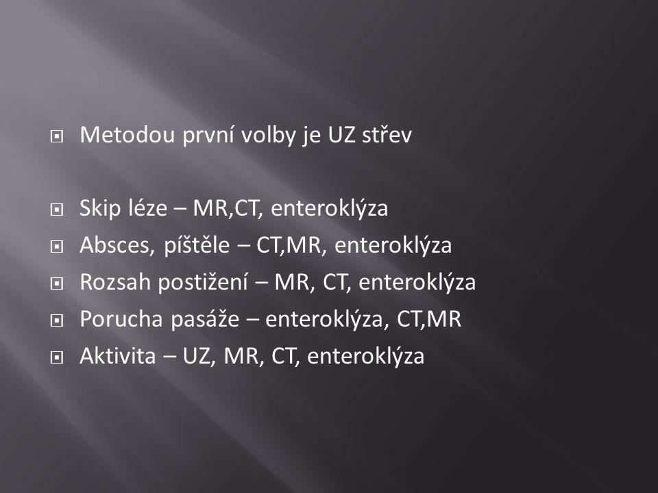  Metodou první volby je UZ střev  Skip léze – MR,CT, enteroklýza  Absces, píštěle – CT,MR, enteroklýza  Rozsah postižení – MR, CT, enteroklýza  P