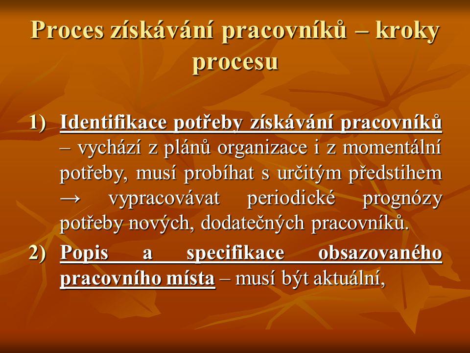 Proces získávání pracovníků – kroky procesu 1)Identifikace potřeby získávání pracovníků – vychází z plánů organizace i z momentální potřeby, musí prob
