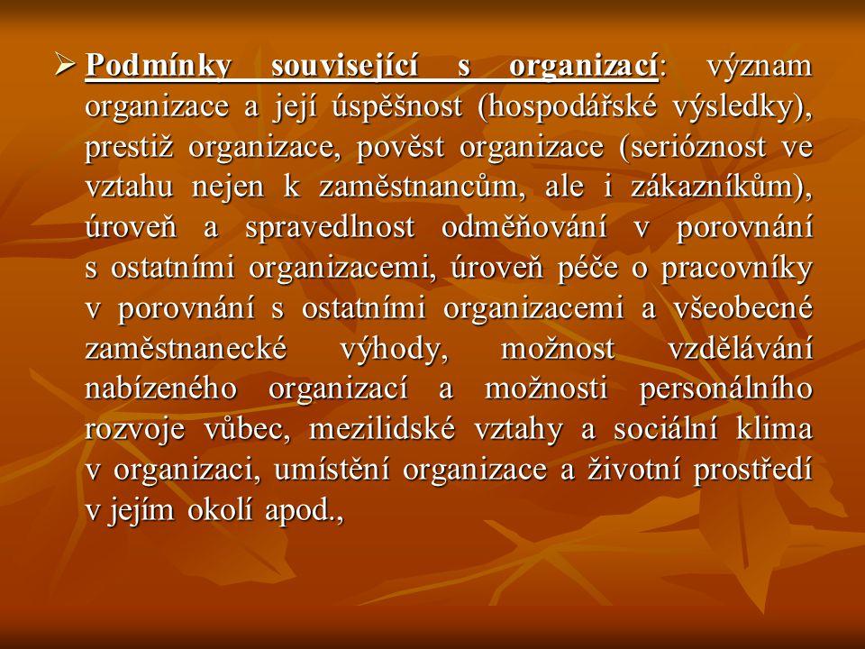  Podmínky související s organizací: význam organizace a její úspěšnost (hospodářské výsledky), prestiž organizace, pověst organizace (serióznost ve v