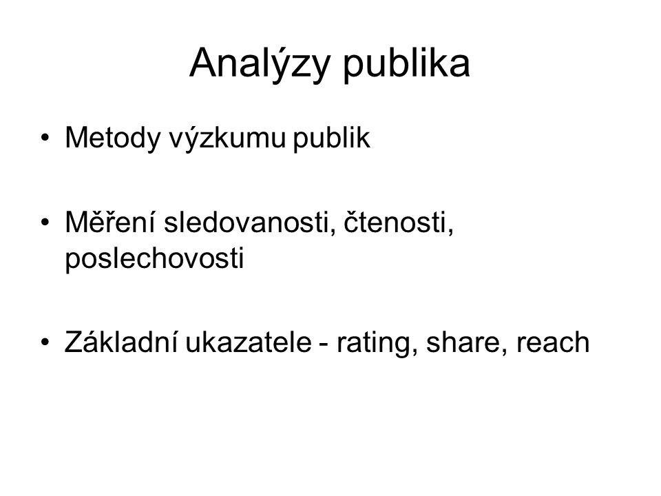 Analýzy publika Metody výzkumu publik Měření sledovanosti, čtenosti, poslechovosti Základní ukazatele - rating, share, reach