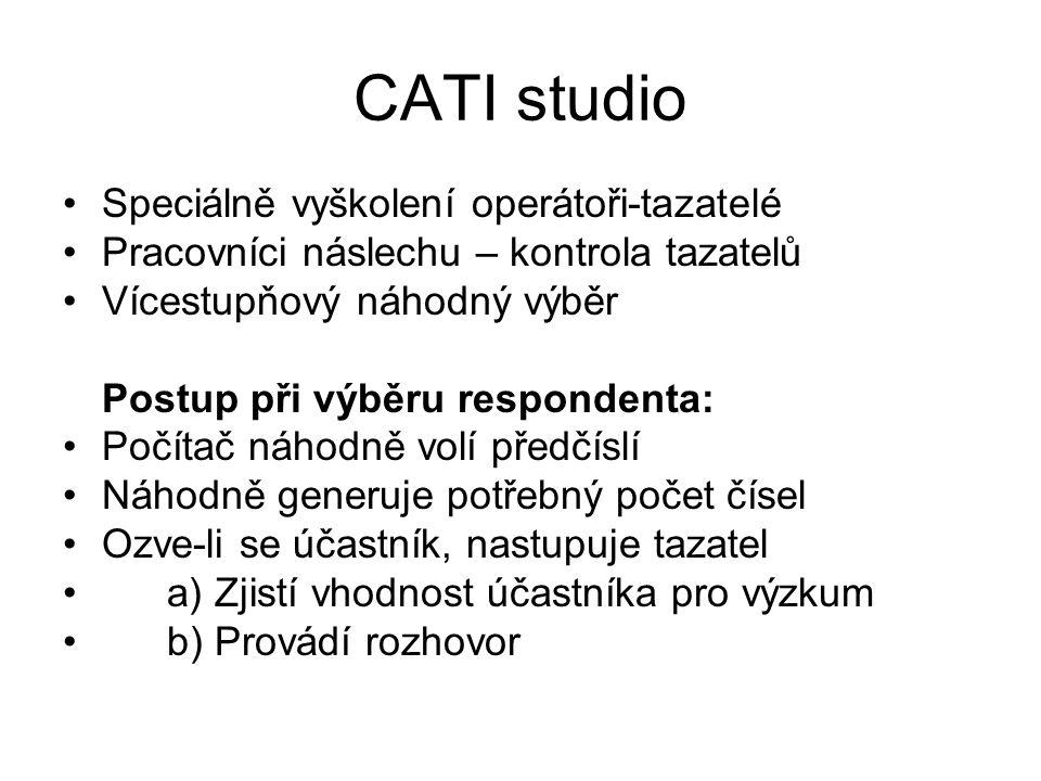 CATI studio Speciálně vyškolení operátoři-tazatelé Pracovníci náslechu – kontrola tazatelů Vícestupňový náhodný výběr Postup při výběru respondenta: Počítač náhodně volí předčíslí Náhodně generuje potřebný počet čísel Ozve-li se účastník, nastupuje tazatel a) Zjistí vhodnost účastníka pro výzkum b) Provádí rozhovor