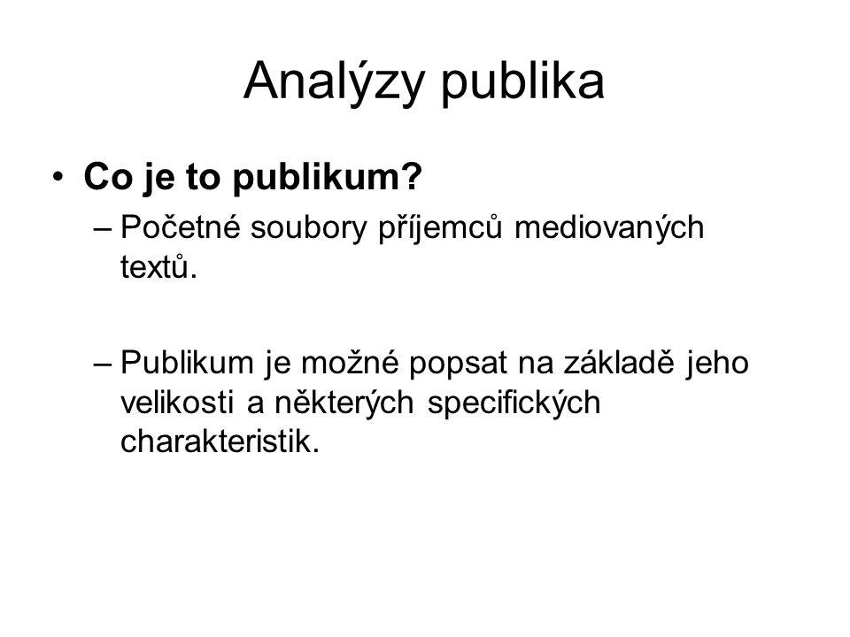 Analýzy publika Co je to publikum.–Početné soubory příjemců mediovaných textů.