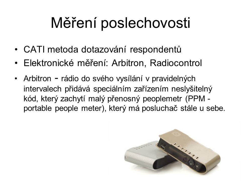 Měření poslechovosti CATI metoda dotazování respondentů Elektronické měření: Arbitron, Radiocontrol Arbitron - rádio do svého vysílání v pravidelných intervalech přidává speciálním zařízením neslyšitelný kód, který zachytí malý přenosný peoplemetr (PPM - portable people meter), který má posluchač stále u sebe.