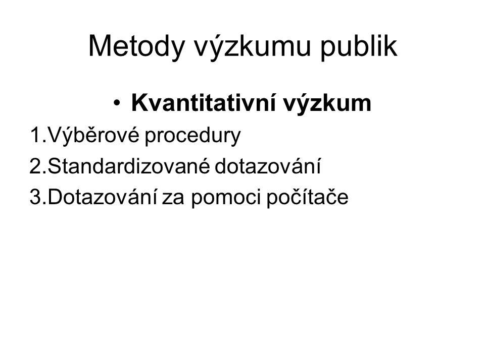 Metody výzkumu publik Kvantitativní výzkum 1.Výběrové procedury 2.Standardizované dotazování 3.Dotazování za pomoci počítače