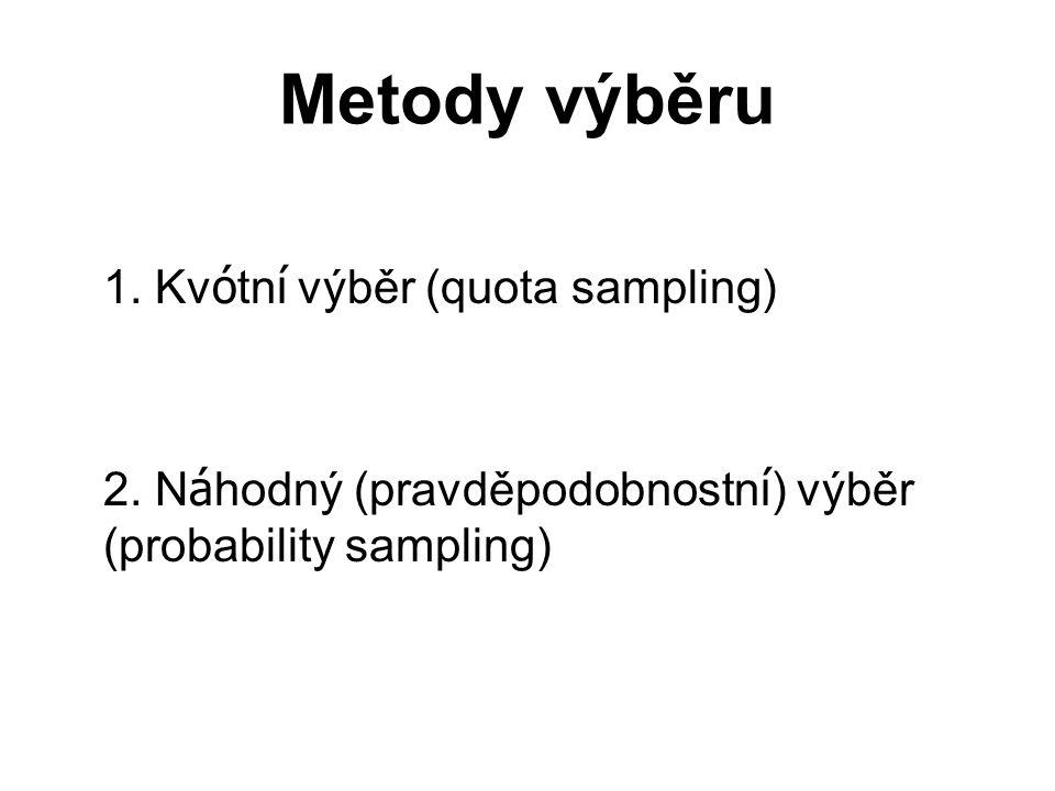 Metody výběru 1.Kv ó tn í výběr (quota sampling) 2.