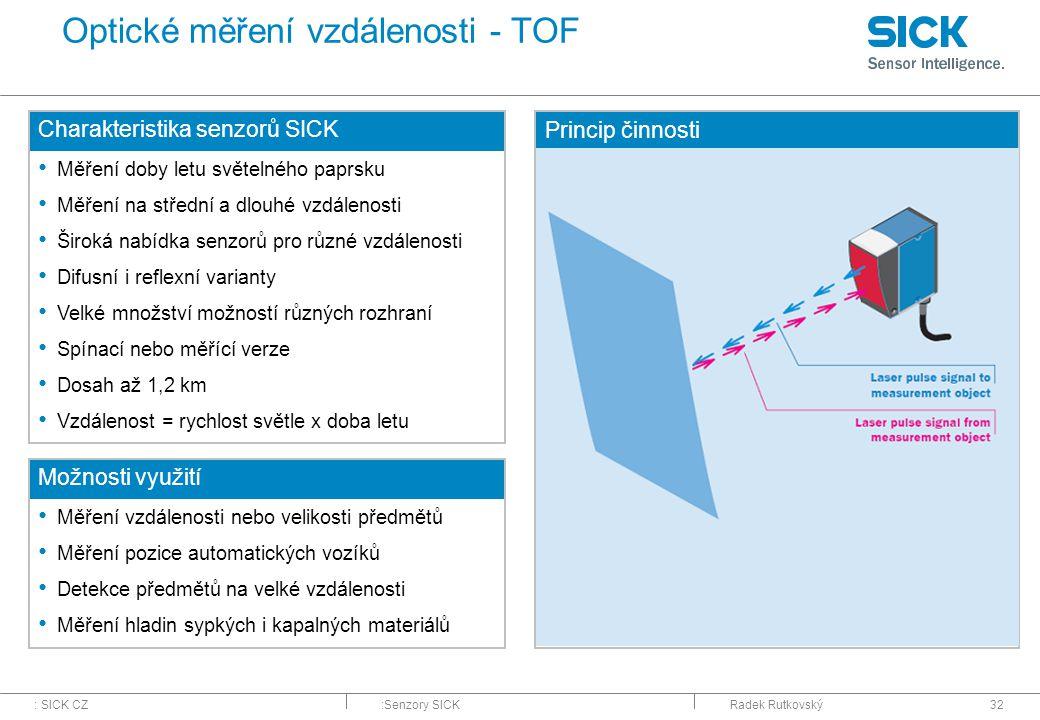 : SICK CZ:Senzory SICKRadek Rutkovský32 Optické měření vzdálenosti - TOF Charakteristika senzorů SICK Měření doby letu světelného paprsku Měření na st