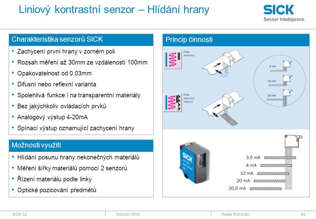 : SICK CZ:Senzory SICKRadek Rutkovský44 Liniový kontrastní senzor – Hlídání hrany Charakteristika senzorů SICK Zachycení první hrany v zorném poli Roz
