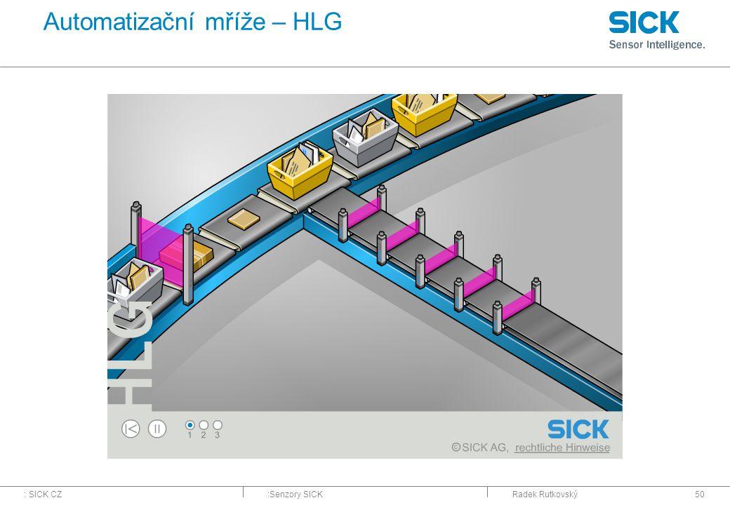: SICK CZ:Senzory SICKRadek Rutkovský50 Automatizační mříže – HLG