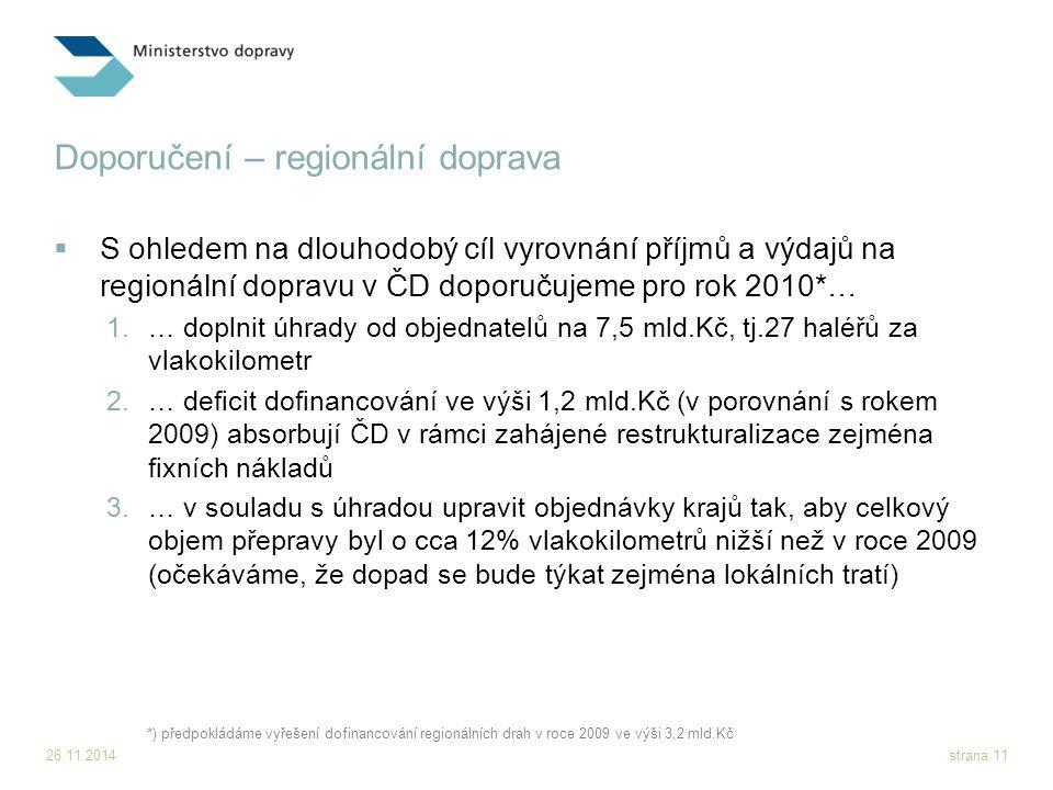 26.11.2014strana 11 Doporučení – regionální doprava  S ohledem na dlouhodobý cíl vyrovnání příjmů a výdajů na regionální dopravu v ČD doporučujeme pr