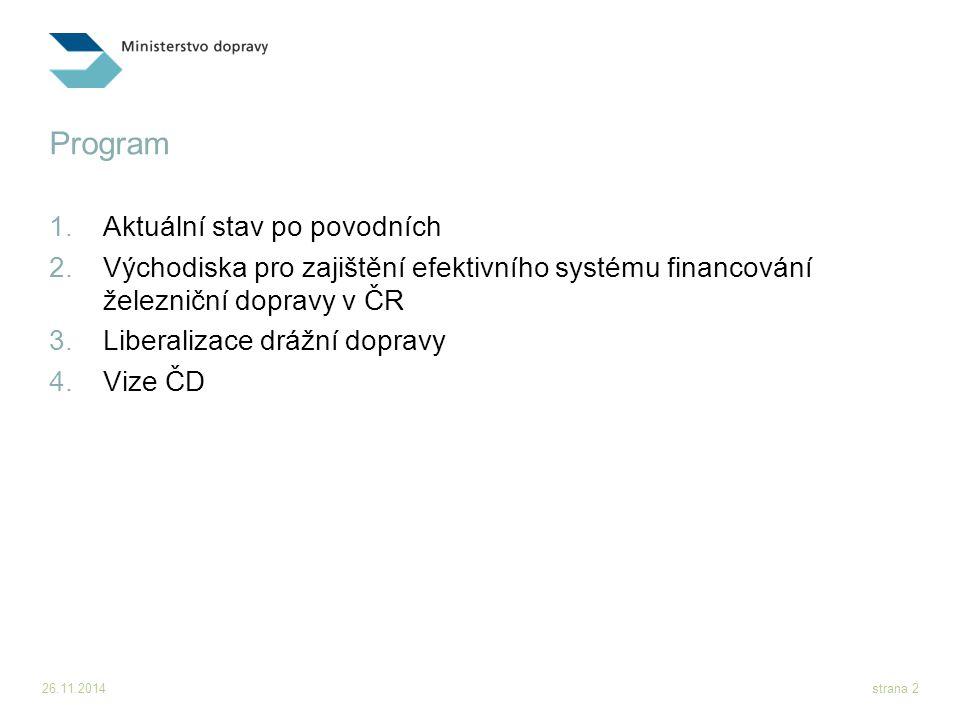 26.11.2014strana 2 Program 1.Aktuální stav po povodních 2.Východiska pro zajištění efektivního systému financování železniční dopravy v ČR 3.Liberaliz