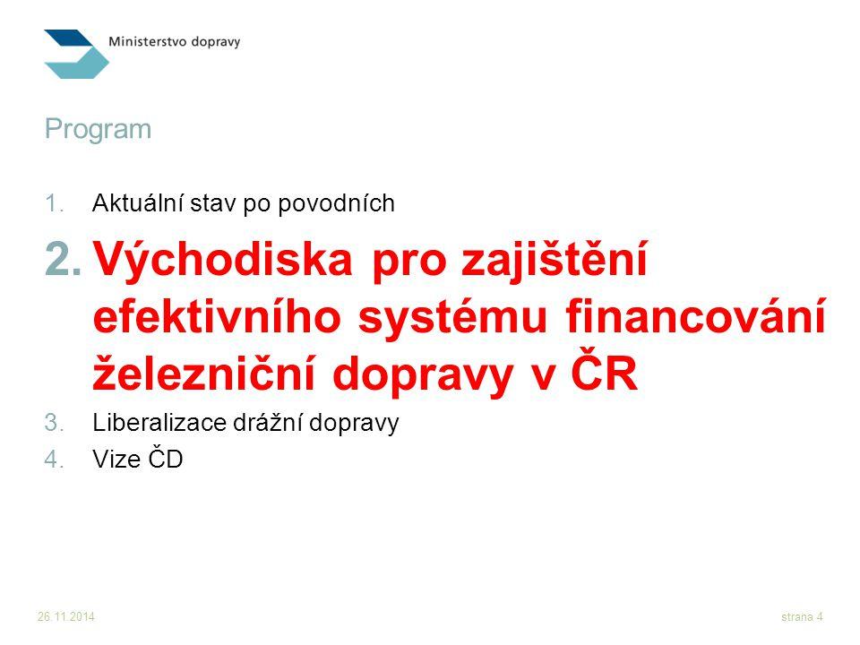 26.11.2014strana 5 Aktuální stav financování železniční dopravy  Na základě dostupných údajů je možné konstatovat, že systém… ...