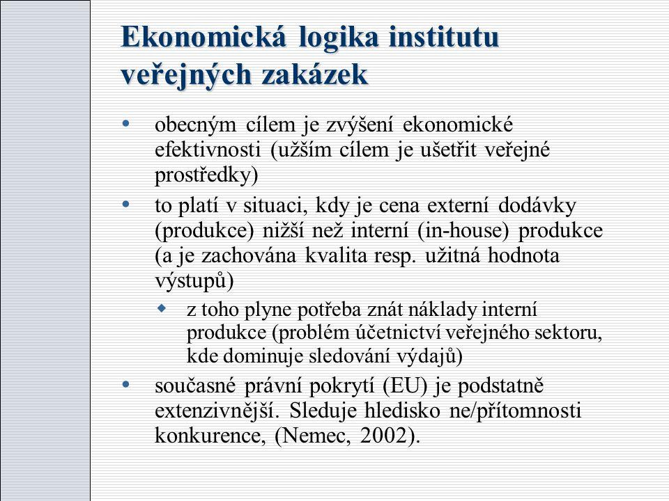 Ekonomická logika institutu veřejných zakázek  obecným cílem je zvýšení ekonomické efektivnosti (užším cílem je ušetřit veřejné prostředky)  to platí v situaci, kdy je cena externí dodávky (produkce) nižší než interní (in-house) produkce (a je zachována kvalita resp.