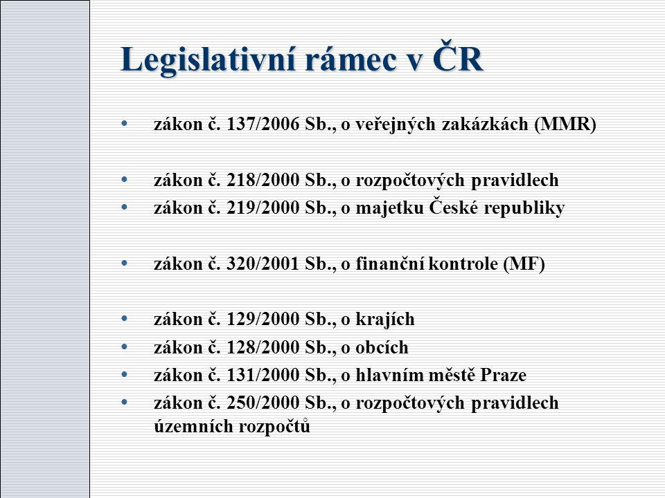 Legislativní rámec v ČR  zákon č. 137/2006 Sb., o veřejných zakázkách (MMR)  zákon č.
