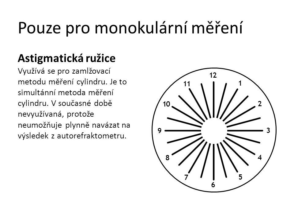 Pouze pro monokulární měření Bodový astigmatický test pro metodu Jacksonova cylindru: Používá se pro měření správné osy a síly cylindru, i u různých stupňů visu.
