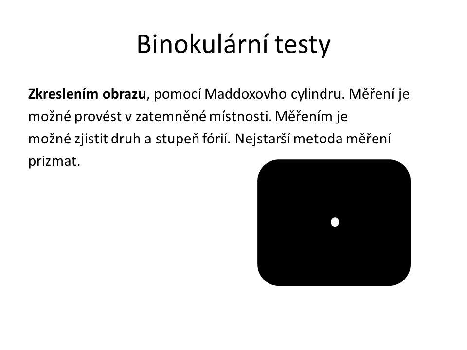 Binokulární testy Disociační prizma.
