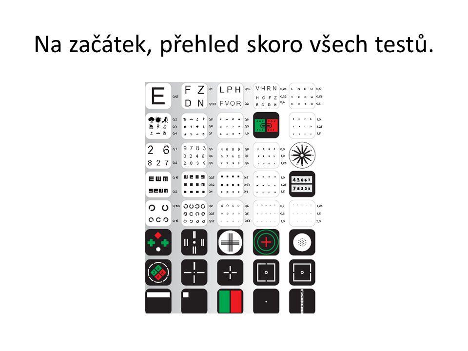Monokulární i binokulární měření možné Monokulární i binokulární měření vizu: Snellenův Landoltův Numerický Písmenkový Dětský Pouze pro monokulární měření: Astigmatická růžice Bodový astigmatický test pro metodu Jacksonova cylindru Červeno-zelený test pro jemné sférické dokorigování Stabilní metoda jemného sférického dokorigování pomocí Jacksonova cylind ru Pouze binokulární: Stereopse Schoberův test Worthova světla Aniseikonie Akk.rovnováha Forie a tropie a jiné