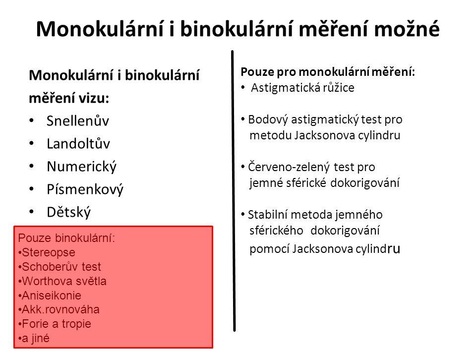 Snellenův optotyp Pro měření visu, jak v monokulárním, tak i v binokulárním měření.