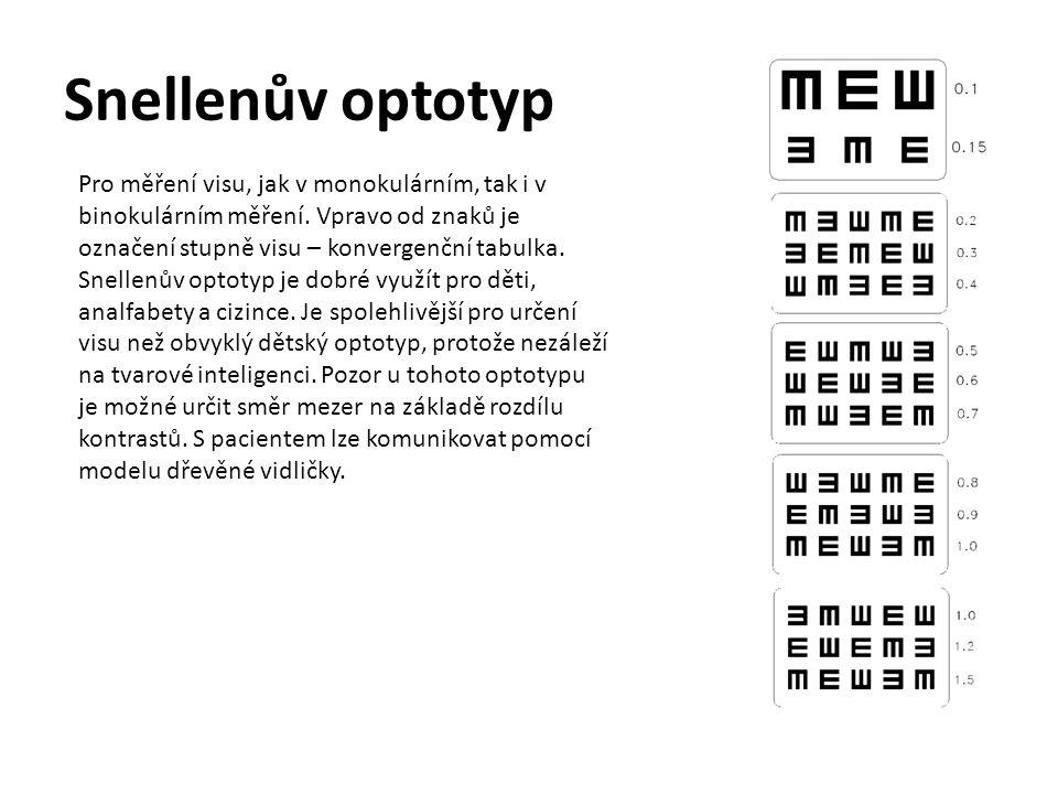 Landoltův optotyp-kruh Pro měření visu, jak v monokulárním, tak i v binokulárním měření.