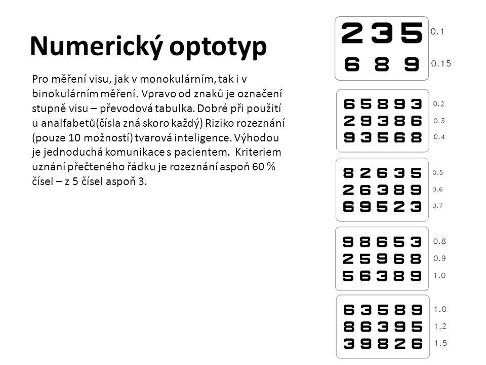 Písmenkový optotyp 0,05 Pro měření visu, jak v monokulárním, tak i v binokulárním měření.