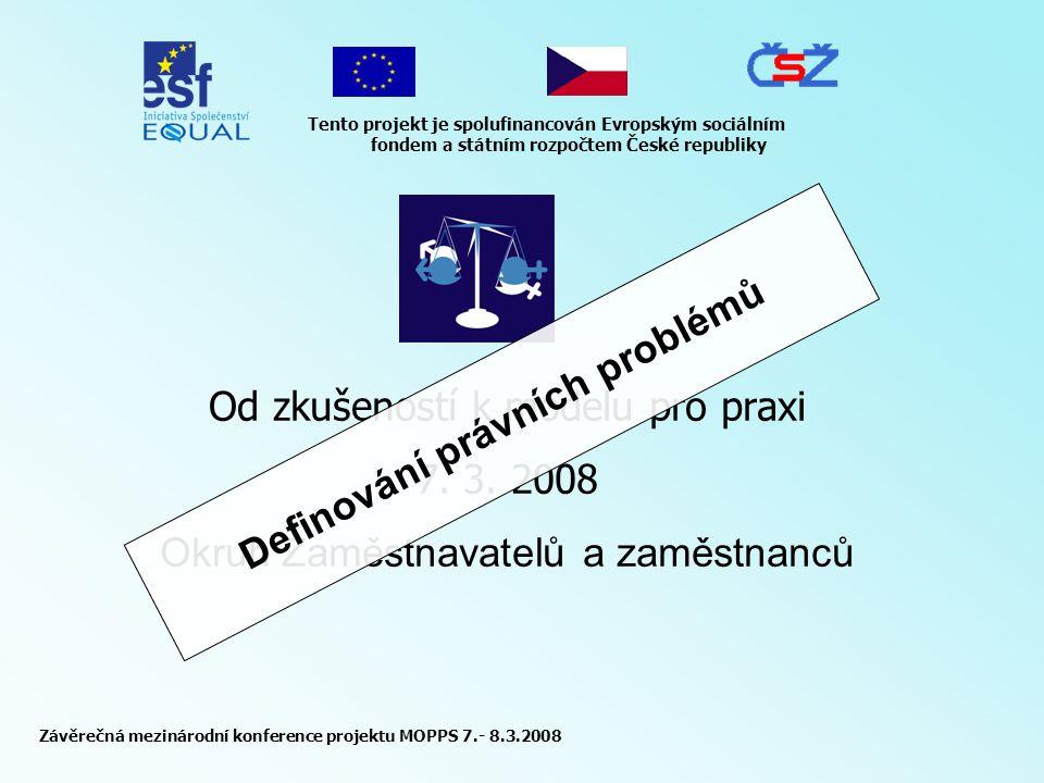Závěrečná mezinárodní konference projektu MOPPS 7.- 8.3.2008 Tento projekt je spolufinancován Evropským sociálním fondem a státním rozpočtem České republiky Od zkušeností k modelu pro praxi 7.