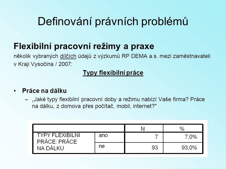 Definování právních problémů Flexibilní pracovní režimy a praxe několik vybraných dílčích údajů z výzkumů RP DEMA a.s.