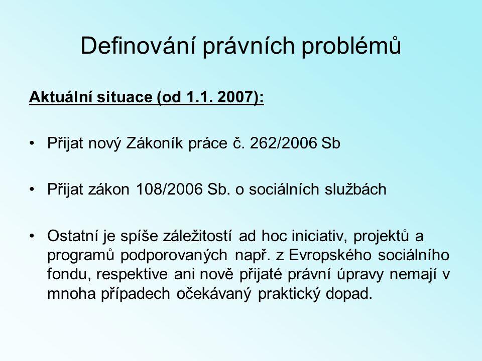 Definování právních problémů Aktuální situace (od 1.1.