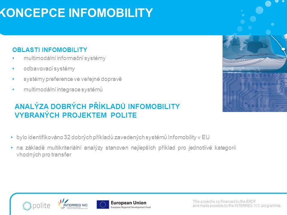 KONCEPCE INFOMOBILITY bylo identifikováno 32 dobrých příkladů zavedených systémů Infomobility v EU na základě multikriteriální analýzy stanoven nejlepších příklad pro jednotlivé kategorii vhodných pro transfer This project is co-financed by the ERDF and made possible by the INTERREG IVC programme.