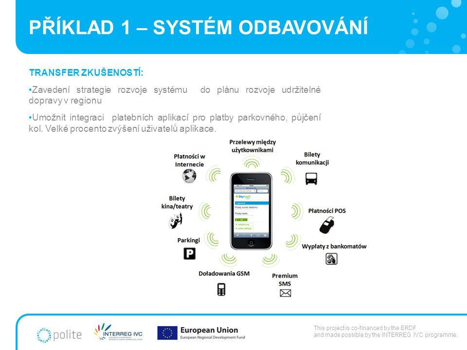 PŘÍKLAD 1 – SYSTÉM ODBAVOVÁNÍ TRANSFER ZKUŠENOSTÍ: Zavedení strategie rozvoje systému do plánu rozvoje udržitelné dopravy v regionu Umožnit integraci platebních aplikací pro platby parkovného, půjčení kol.