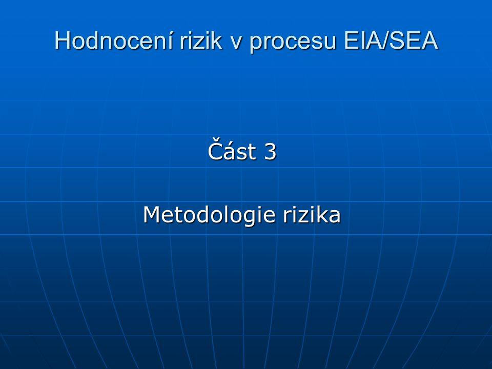 Hodnocení rizik v procesu EIA/SEA Část 3 Metodologie rizika