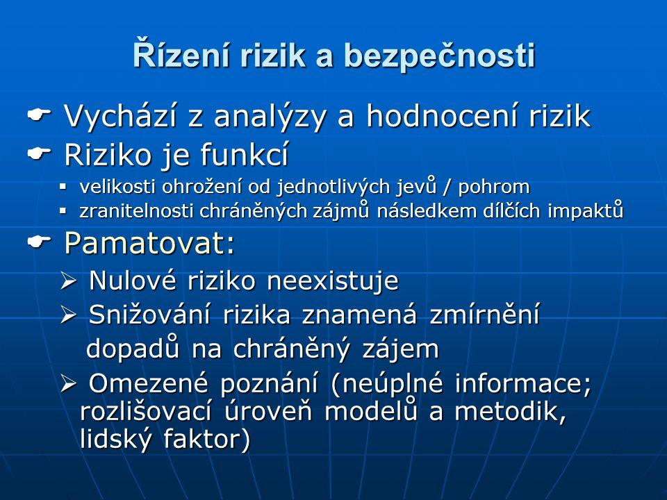 Řízení rizik a bezpečnosti  Vychází z analýzy a hodnocení rizik  Riziko je funkcí  velikosti ohrožení od jednotlivých jevů / pohrom  zranitelnosti chráněných zájmů následkem dílčích impaktů  Pamatovat:  Nulové riziko neexistuje  Snižování rizika znamená zmírnění dopadů na chráněný zájem dopadů na chráněný zájem  Omezené poznání (neúplné informace; rozlišovací úroveň modelů a metodik, lidský faktor)