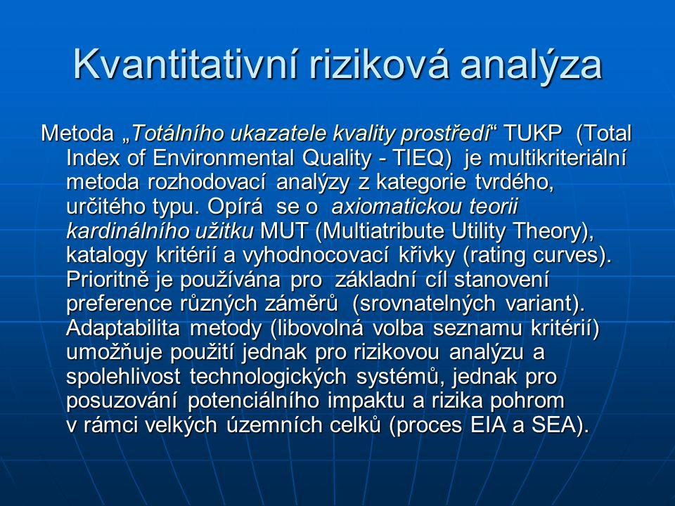"""Kvantitativní riziková analýza Metoda """"Totálního ukazatele kvality prostředí TUKP (Total Index of Environmental Quality - TIEQ) je multikriteriální metoda rozhodovací analýzy z kategorie tvrdého, určitého typu."""