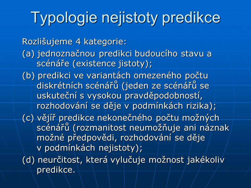 Typologie nejistoty predikce Rozlišujeme 4 kategorie: (a) jednoznačnou predikci budoucího stavu a scénáře (existence jistoty); (b) predikci ve variantách omezeného počtu diskrétních scénářů (jeden ze scénářů se uskuteční s vysokou pravděpodobností, rozhodování se děje v podmínkách rizika); (c) vějíř predikce nekonečného počtu možných scénářů (rozmanitost neumožňuje ani náznak možné předpovědi, rozhodování se děje v podmínkách nejistoty); (d) neurčitost, která vylučuje možnost jakékoliv predikce.