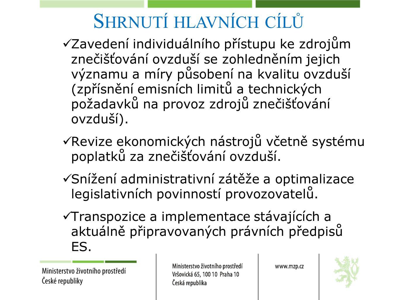 S HRNUTÍ HLAVNÍCH CÍLŮ Zavedení individuálního přístupu ke zdrojům znečišťování ovzduší se zohledněním jejich významu a míry působení na kvalitu ovzduší (zpřísnění emisních limitů a technických požadavků na provoz zdrojů znečišťování ovzduší).