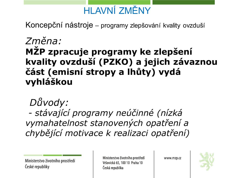 Koncepční nástroje – programy zlepšování kvality ovzduší Změna: MŽP zpracuje programy ke zlepšení kvality ovzduší (PZKO) a jejich závaznou část (emisní stropy a lhůty) vydá vyhláškou Důvody: - stávající programy neúčinné (nízká vymahatelnost stanovených opatření a chybějící motivace k realizaci opatření) HLAVNÍ ZMĚNY